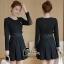 ชุดเดรสเกาหลี พร้อมส่ง Mini dress ทางเรียบร้อยสีดำ ดูดีมาก thumbnail 7