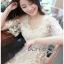 ชุดเดรสเกาหลี พร้อมส่งเดรสผ้าทูลล์ปักลายดอกไม้คัทเอาท์ไหล่ thumbnail 9