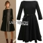 Maddie Minimal Elegant Black Crepe Dress with Black Patent Belt thumbnail 4