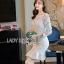 ชุดเดรสเกาหลี พร้อมส่งเดรสผ้าลูกไม้สีขาวสไตล์วินเทจ ลุคนี้เป็นสาวเฟมินีน thumbnail 6