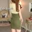 ชุดเดรสเกาหลี พร้อมส่ง มินิเดรส สีเขียวทูโทน แขนกุด คอวี thumbnail 6