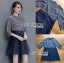 ชุดเดรสเกาหลีพร้อมส่ง เดรสผ้าคอตตอนลายทางและกระโปรงออร์แกนซ่า thumbnail 5