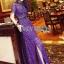 ชุดเดรสเกาหลี พร้อมส่งSelf-Portrait Scallop Edged Midi Dress in Burgundy thumbnail 7