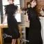ชุดเดรสเกาหลี พร้อมส่งlong dressสีดำงานลูกไม้สีดำช่วงบน thumbnail 3
