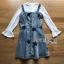 ชุดเดรสเกาหลี พร้อมส่งเดรสผ้าเดนิมสกรีนลายดาวทับเสื้อลูกไม้สีขาว thumbnail 18