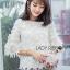 เสื้อผ้าเกาหลี พร้อมส่งเสื้อผ้าลูกไม้ปักผีเสื้อและคอตตอนสีขาว thumbnail 1