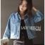 เสื้อผ้าเกาหลี พร้อมส่งแจ๊กเก็ตผ้าเดนิมปักลายแมว thumbnail 7