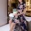 ชุดเดรสเกาหลี พร้อมส่งเดรสผ้าทูลเลปักดอกไม้โทนสีครีมน้ำเงิน thumbnail 7