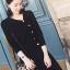 เสื้อผ้าเกาหลี พร้อมส่งParisian Luxury Winter Black Wooly Top + Skirt Set thumbnail 3