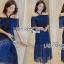ชุดเดรสเกาหลี พร้อมส่งเดรสเปิดไหล่ผ้าลูกไม้สีน้ำเงินเข้มตกแต่งริบบิ้นสีดำ thumbnail 8