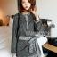 เสื้อผ้าเกาหลี พร้อมส่งเซ็ตเสื้อและกระโปรงลายดอกไม้จุดสีขาวดำสไตล์โบฮีเมียน thumbnail 10