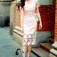 ชุดเดรสเกาหลี พร้อมส่งMini dress ลูกไม้แจนสั้นเนื้อถัก thumbnail 1