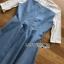 ชุดเดรสเกาหลี พร้อมส่งมินิเดรสเกาะอกผ้าเดนิมทับเสื้อลูกไม้สีขาว thumbnail 15