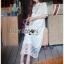 ชุดเดรสเกาหลี พร้อมส่งเดรสยาวผ้าลูกไม้ปักดอกกุหลาบสีขาวสไตล์เจ้าหญิงโบฮีเมียน thumbnail 1