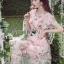 ชุดเดรสแฟชั่น พร้อมส่งเดรสผ้าทูลเลปักดอกไม้กุหลาบสีชมพูทับลูกไม้สีชมพู thumbnail 3
