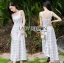 Tanya Summer Chic White Flower Embroidered and Tulle Dress thumbnail 4