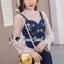 เสื้อผ้าเกาหลีพร้อมส่ง Pinky Flora Stick Cami Denim Dress Set thumbnail 2