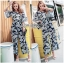 May Tropical Printed Flared-Sleeve Cropped Top and Flared Pants Set thumbnail 2