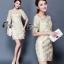 ชุดเดรสเกาหลี พร้อมส่งMini dress แขนสามส่วน ด้านนอกเป็นผ้าซีทรูปักลายดอกไม้ thumbnail 2
