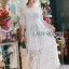 ชุดเดรสเกาหลี พร้อมส่งเดรสผ้าลูกไม้สีขาวปักลายผีเสื้อ thumbnail 3