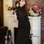 ชุดเดรสเกาหลี พร้อมส่งlong dressสีดำงานลูกไม้สีดำช่วงบน thumbnail 6