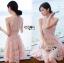 Sarah Pretty Sleeveless Embellished Baby Pink Lace Dress thumbnail 5