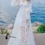 ชุเดรสเกาหลี พร้อมส่งBeach Angel Luxury White Lace Dress thumbnail 1
