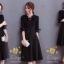 ชุดเดรสเกาหลี พร้อมส่งเดรสสีดำแบบสุภาพ ด้านหน้าอัดพรีทท thumbnail 4
