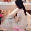 ชุดเดรสเกาหลี พร้อมส่งเดรสยาวผ้าลูกไม้สีขาวตกแต่งระบายสไตล์โรแมนติก thumbnail 6