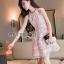 ชดเดรสเกาหลี พร้อมส่งเดรสผ้าเครปสีชมพูปักผีเสื้อตกแต่งสร้อยคอมุก thumbnail 6