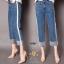 เสื้อผ้าสเกาหลีพร้อมส่ง กางเกงยีนส์ทรงกระบอก ผ้ายีนส์ฮ่องกง thumbnail 9
