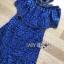 ชุดเดรสเกาหลี พร้อมส่งเดรสเปิดไหล่ผ้าลูกไม้สีน้ำเงินเข้มตกแต่งริบบิ้นสีดำ thumbnail 12