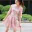 ชุดเดรสเกาหลี พร้อมส่งDress ค็อกเทลเดรสผ้าชีฟองสีชมพูปักดอกไม้ thumbnail 1