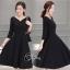 ชุดเดรสเกาหลี พร้อมส่งClassic Long Sleeves Black Dress thumbnail 3