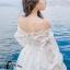 ชุเดรสเกาหลี พร้อมส่งBeach Angel Luxury White Lace Dress thumbnail 9