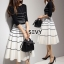 Two Pieces Of Stripes Sweater With Skirt Sets thumbnail 4