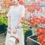 ชุดเดรสเกาหลี พร้อมส่งเดรสยาวผ้าลูกไม้สีขาวสไตล์ลำลอง thumbnail 2