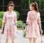 ชุดเดรสเกาหลี พร้อมส่งDress ค็อกเทลเดรสผ้าชีฟองสีชมพูปักดอกไม้ thumbnail 6