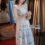 ชุดเดรสเกาหลี พร้อมส่งเดรสยาวผ้าทูลเลปักผีเสื้อสีฟ้า3D สไตล์เจ้าหญิง thumbnail 3