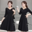 ชุดเดรสเกาหลี พร้อมส่งClassic Long Sleeves Black Dress thumbnail 2