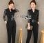 เสื้อผ้าเกาหลี พร้อมส่งจัมป์สูทสีดำตกแต่งลูกไม้สไตล์สมาร์ทแคชชวล thumbnail 8