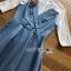 ชุดเดรสเกาหลี พร้อมส่งมินิเดรสเกาะอกผ้าเดนิมทับเสื้อลูกไม้สีขาว thumbnail 12