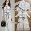 ชุดเดรสเกาหลี พร้อมส่งเดรสผ้าลูกไม้สีขาวตกแต่งเชือกผูกเอว thumbnail 10