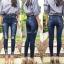 เสื้อผ้าเกาหลีพร้อมส่ง กางเกงยีนส์ทรงสกินนี่ สียีนส์เข้มแต่งเฟดสวย thumbnail 1