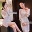 ชุดเดรสเกาหลี พร้อมส่งเดรสผ้าลูกไม้สีขาวซับในสีนู้ดตกแต่งแขนชิฟฟอน thumbnail 2