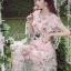 ชุดเดรสเกาหลี พร้อมส่งเดรสผ้าทูลเลปักดอกไม้กุหลาบสีชมพูทับลูกไม้สีชมพู thumbnail 5