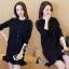 เสื้อผ้าเกาหลี พร้อมส่งเสื้อคลุมแขนยาวกระดุมหน้างานไหมพรมจับเซ็ตกับเดรส thumbnail 4