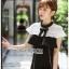 ชุดเดรสเกาหลีพร้อมส่ง เดรสผ้าลูกไม้และผ้าเครปสีขาว-ดำต thumbnail 5