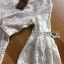ชุดเดรสเกาหลี พร้อมส่งเดรสผ้าลูกไม้สีขาวงาช้างแขนบานพร้อมเข็มขัด thumbnail 8