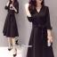 ชุดเดรสเกาหลี พร้อมส่งเดรสคอวี ทรงสวย เนื้อผ้า polyester หนานุ่ม thumbnail 5